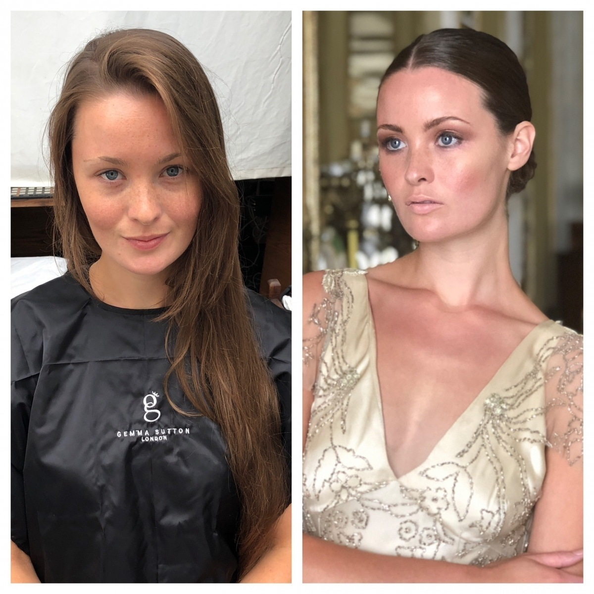 before and after makeup - Gemma Sutton