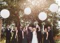 big white ballons - bridal party