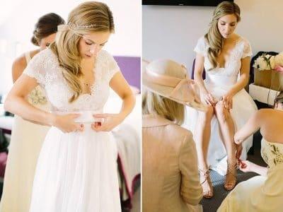 Calire's bridesmaids prepare her departure