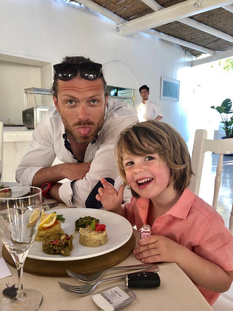 Olly & Spencer enjoying their wedding breakfast at Fran's wedding in Bodrum, Turkey